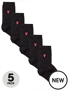 very-v-by-very-5-pack-embroidered-ankle-sock