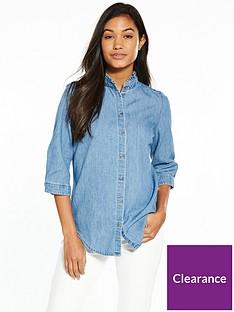 tommy-jeans-tjw-rufflenbspthree-quarter-shirt-blue