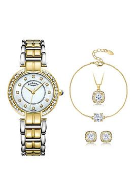 rotary-mother-of-pearl-dial-two-tone-ladies-watch-with-necklace-bracelet-and-earring-set