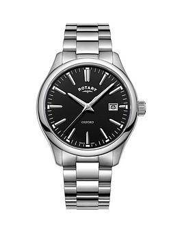 rotary-oxford-black-gloss-dial-silver-bracelet-mens-watch
