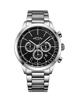 rotary-cambridge-black-chronographnbspdial-silver-bracelet-mens-watch
