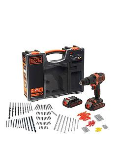 black-decker-black-amp-decker-18v-hammer-drill-2-batteriesorganiser-case-amp-160-accessories