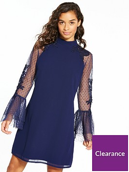 little-mistress-petite-flute-lace-sleeve-shift-dress-navy