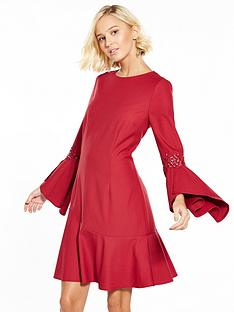 little-mistress-flute-sleeve-skater-dress-crimson