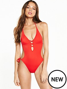 river-island-river-island-plunge-lace-up-swimsuit