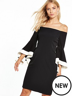coast-elody-monochrome-bell-sleeve-dress
