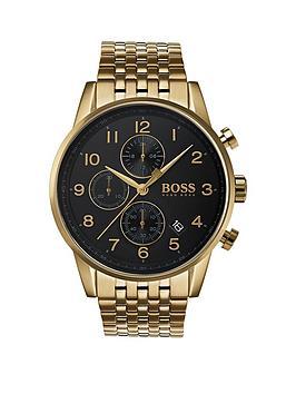 boss-1513531nbspnavigator-black-dial-gold-plated-stainless-steel-bracelet-mens-watch