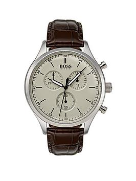 boss-companion-beige-dial-brown-leather-strap-mensnbspwatch