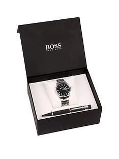 hugo-boss-black-jamesnbspblack-dial-stainless-steel-bracelet-mensnbspwatch-amp-pen-gift-set