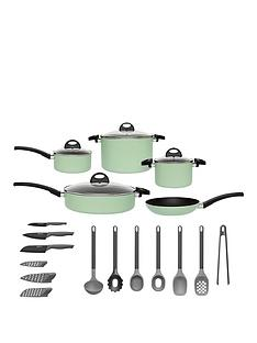 berghoff-eclipse-induction-15-piece-starter-cookware-and-utensil-set-in-soft-green