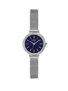 limit-limit-silver-tone-with-mesh-style-bracelet-and-blue-dial-ladies-watch