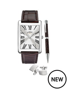 limit-limit-silver-tone-with-brown-croco-effect-strap-and-silver-sunray-dial-mens-watch-with-matching-silver-tone-pen-and-cufflinks