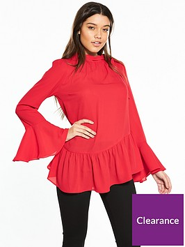 v-by-very-asymetric-fluted-sleeve-blouse