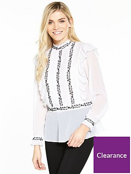 v-by-very-monochrome-embroidered-high-neck-ruffle-blouse