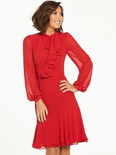 myleene-klass-tie-front-ruffle-front-tea-dress-red