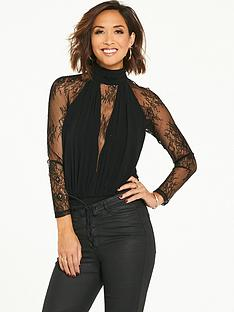 myleene-klass-lace-panel-bodysuit-black