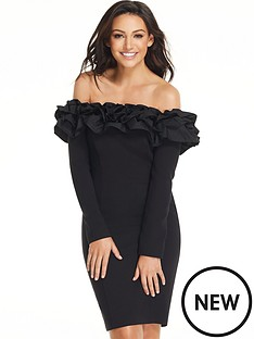 michelle-keegan-ruffle-long-sleeve-bodycon-dress-black