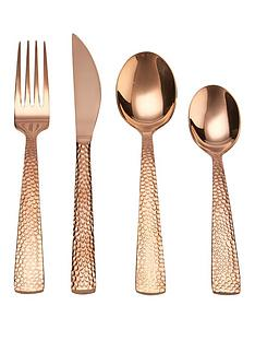 ideal-home-16-piece-copper-hammered-design-cutlery-set