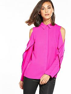 warehouse-cold-shoulder-ruffle-blouse