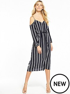 warehouse-button-through-striped-cold-shoulder-dress