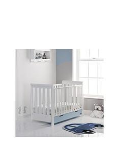 obaby-free-mattress-stamford-mini-cot-bed-white-amp-bon-bon-bluenbspamp-free-sprung-mattress