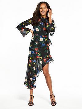 miss-selfridge-print-asymmetric-hem-frill-dress