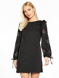 miss-selfridge-miss-selfridge-embroidered-sleeve-shift-dress