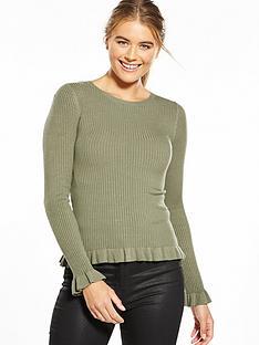 miss-selfridge-frill-rib-hem-fitted-top-khaki
