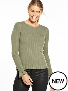 miss-selfridge-frill-rib-hem-fitted-top-khaki