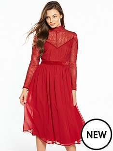 v-by-very-lace-velvet-trim-midi-dress