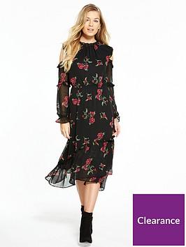 v-by-very-hanky-hem-cold-shoulder-midi-dress