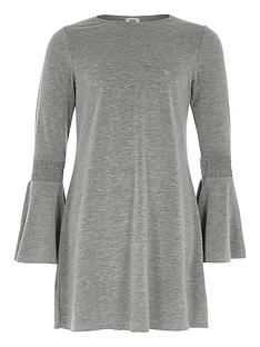 river-island-girls-grey-marl-flare-sleeve-swing-dress