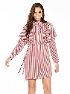 v-by-very-striped-cotton-frill-shirt-dress