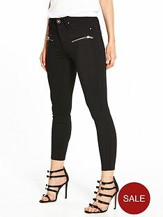 ri-petite-zip-detail-ponte-trousers-black