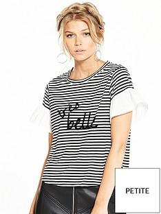 ri-petite-striped-slogan-t-shirt