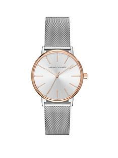 armani-exchange-lola-silver-and-rose-gold-stainless-steel-mesh-bracelet-ladies-watch