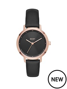 dkny-dkny-modernist-black-leather-strap-ladies-watch