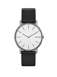 skagen-skagen-signatur-slim-titanium-case-black-leather-strap-mens-watch