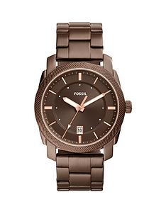 fossil-fossil-machine-brown-ip-stainless-steel-bracelet-men039s-watch