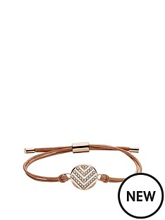 fossil-fossil-stainless-steel-and-leather-rose-gold-tone-chevron-disc-ladies-wrap-bracelet