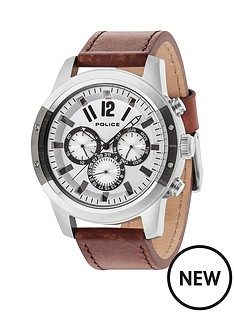 police-police-scrambler-brown-leather-watch-with-white-dial
