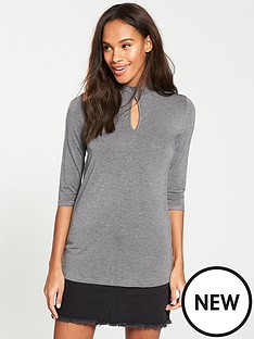 v-by-very-keyhole-high-neck-detail-top-grey-marl