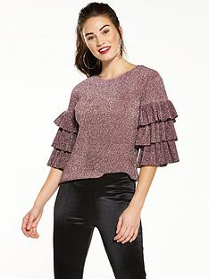 v-by-very-metallic-frill-top