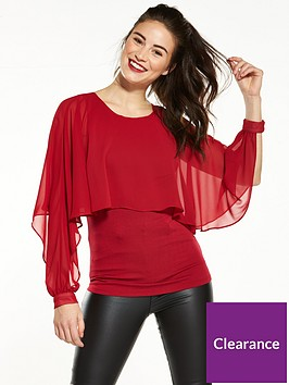 v-by-very-caped-split-long-sleeves-chiffonnbspblouse-red