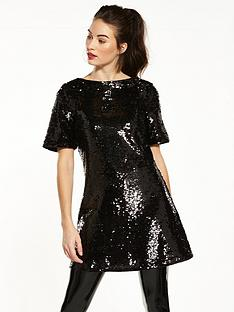 v-by-very-sequin-tunic-black