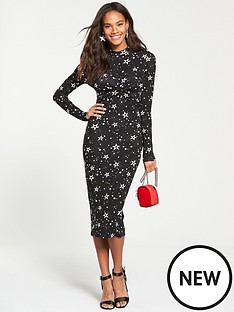 v-by-very-twisted-front-midi-dress