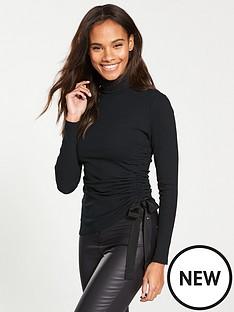 v-by-very-roll-neck-drawstring-top-black