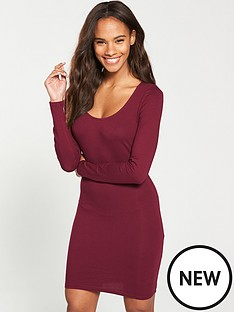 v-by-very-bodycon-tunic-dress-deep-red
