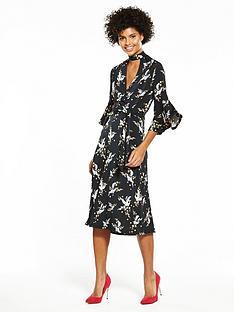 v-by-very-jersey-choker-fluted-sleeve-dress