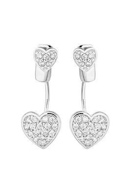 The Love Silver Collection Sterling Cubic Zirconia Heart Ear Jacket Earrings Littlewoods